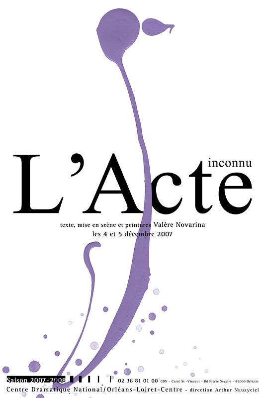Affiche Poster CDN Orléans - L'Acte Inconnu